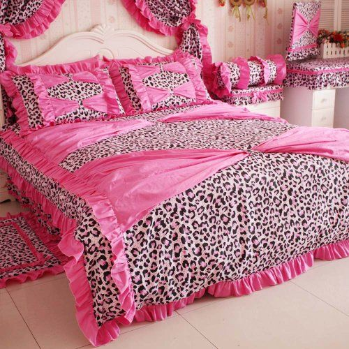 Diaidi Home Textile Red Pink Leopard Bedding Princess Bow Ruffle