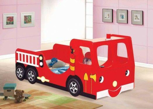 Kinderzimmer Gestalten Junge Bett Auto Feuerwehr