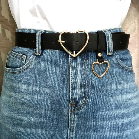 Heart Buckle PU Leather Belt in 2020 | Fashion, Pants for