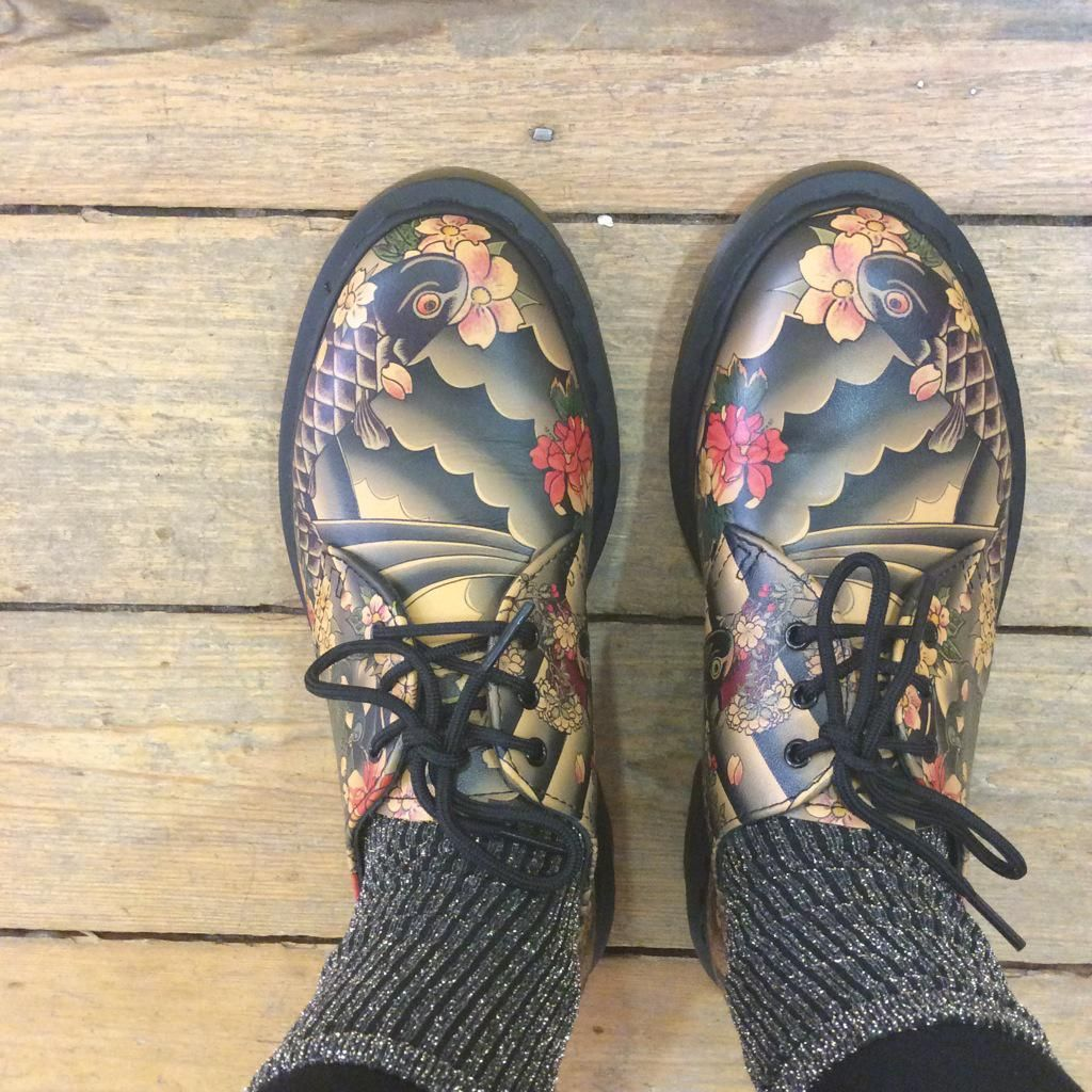buy online 86e6e 7cef2 Dr. Martens 1461 Tattoo Sleeve TAN Story Tattoo, Stella Mccartney Elyse,  Painted Shoes
