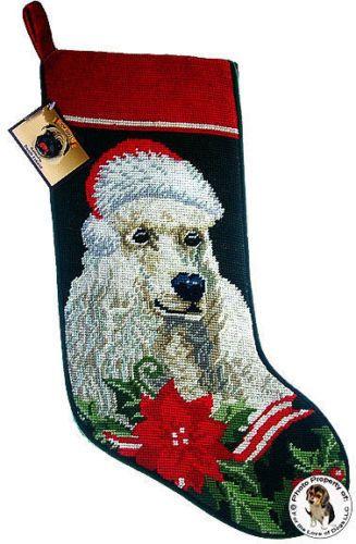 White Poodle Dog Needlepoint Christmas Stocking