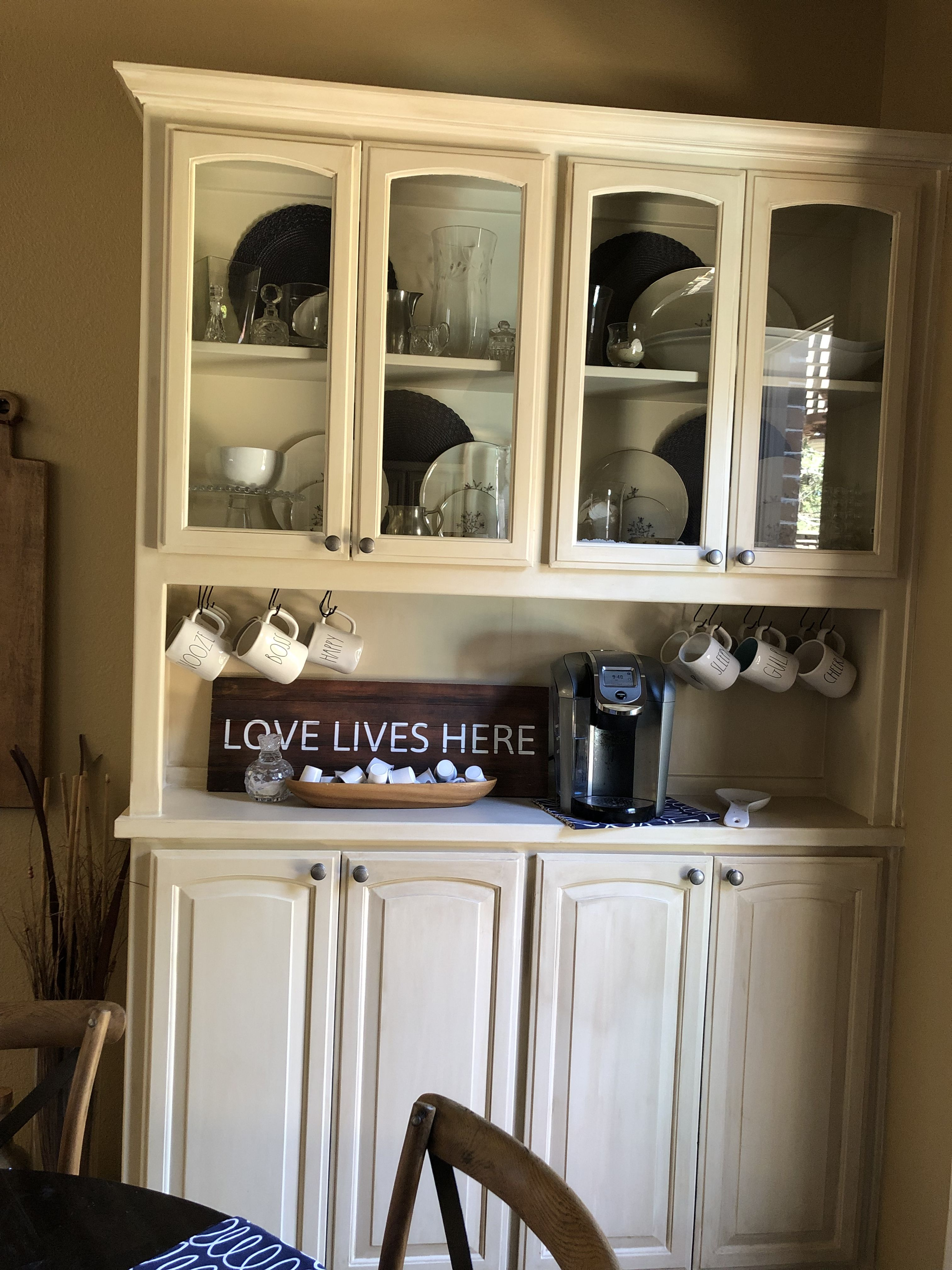 Turn A China Cabinet Into A Coffee Bar China Cabinet Kitchen Wall Cabinet