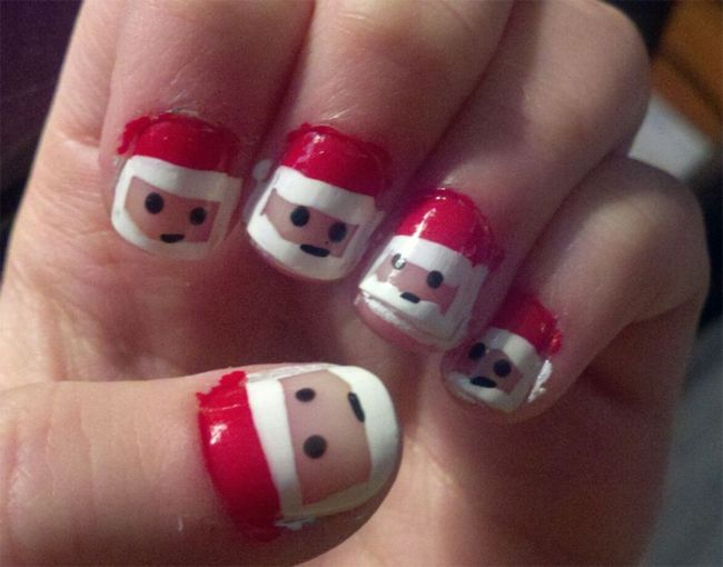 Santa Kids Nail Polish Ideas For Christmas Christmas Nail Art Designs Kids Nail Designs Simple Nail Designs