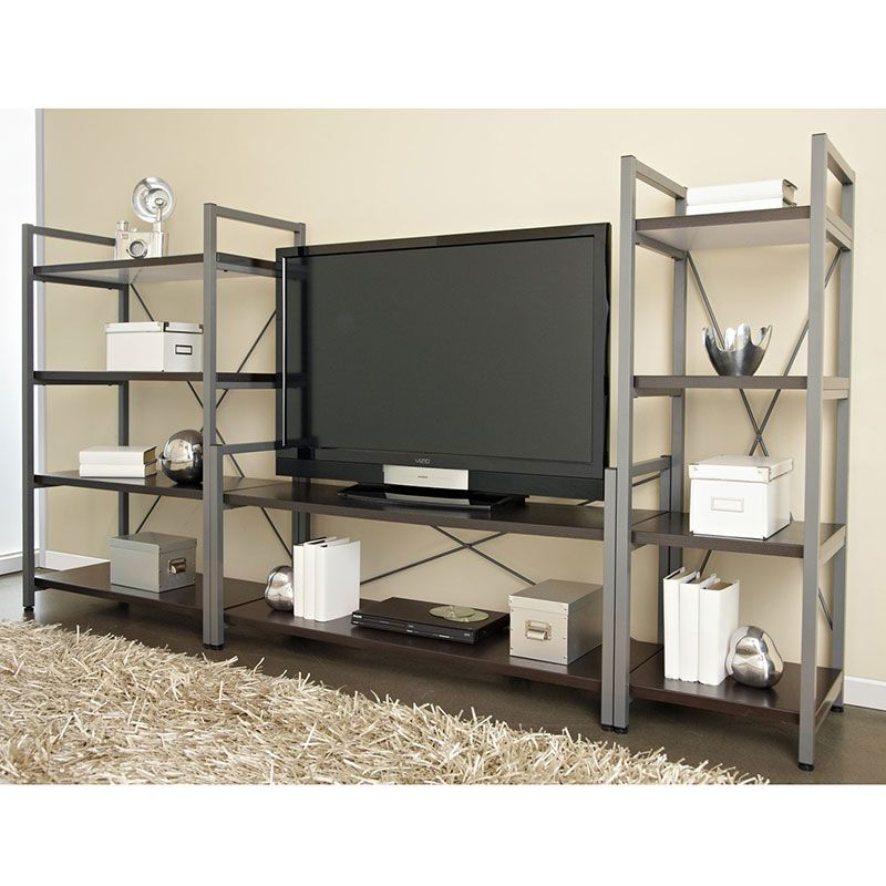 Thomas Wide Bookcase Industrial TV Stand and Bookshelf – Tv Stand Bookcase