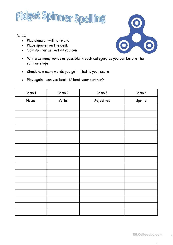 small resolution of Fidget Spinner Spelling   Grade spelling
