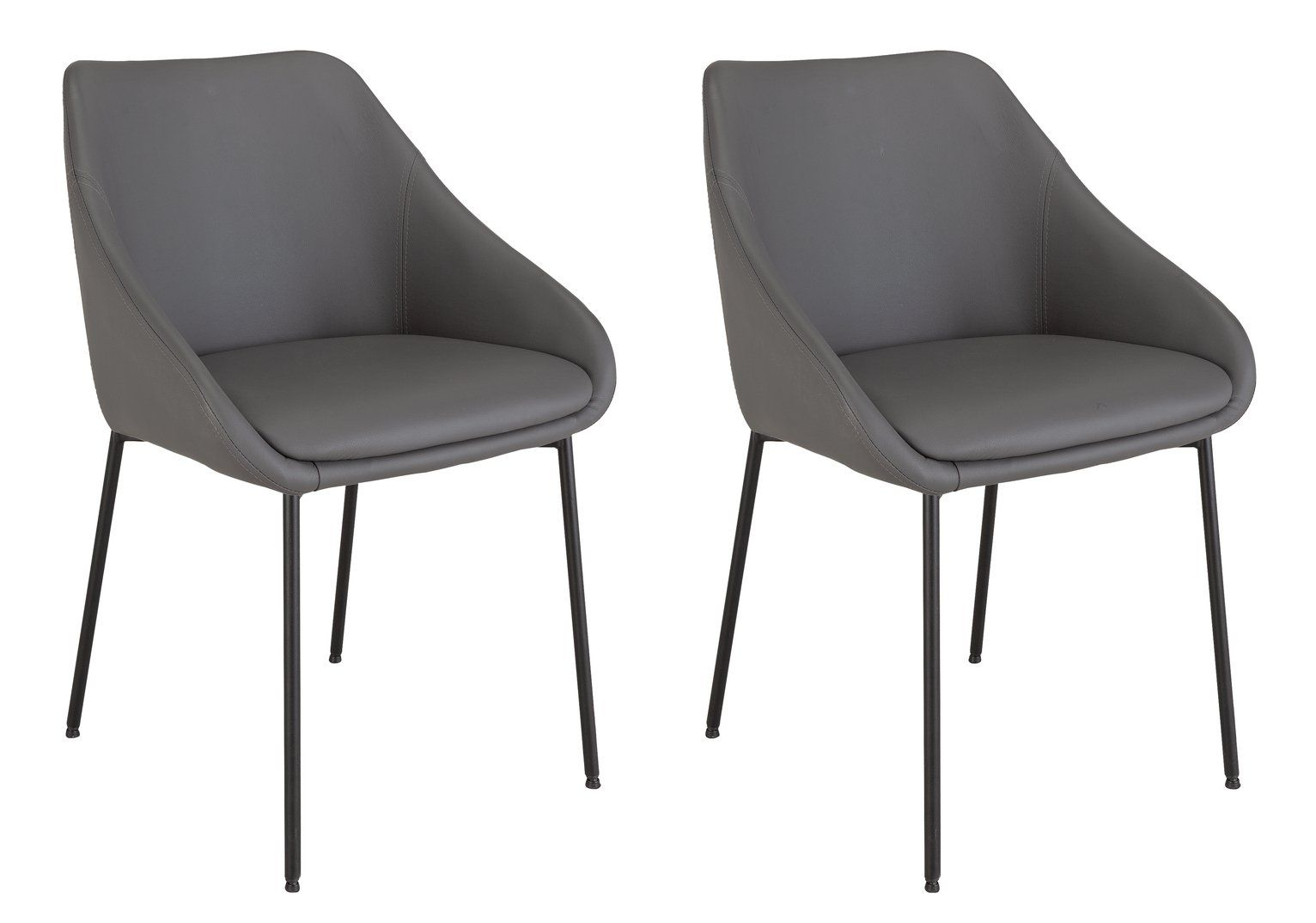 Argos Home Kanso Pair Of Faux Leather Dining Chairs Grey In 2020