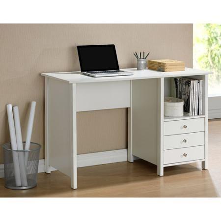 Techni Mobili Contempo Desk With 3 Storage Drawers White Walmart Com Small Office Desk Desk With Drawers White Desks