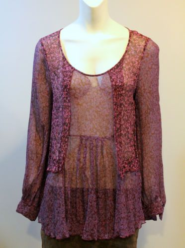 Cabi 823 Sonnet Blouse Crinkled Silk Chiffon Sheer Large Maroon Floral You Missed It Sold Pinterest Closet Store