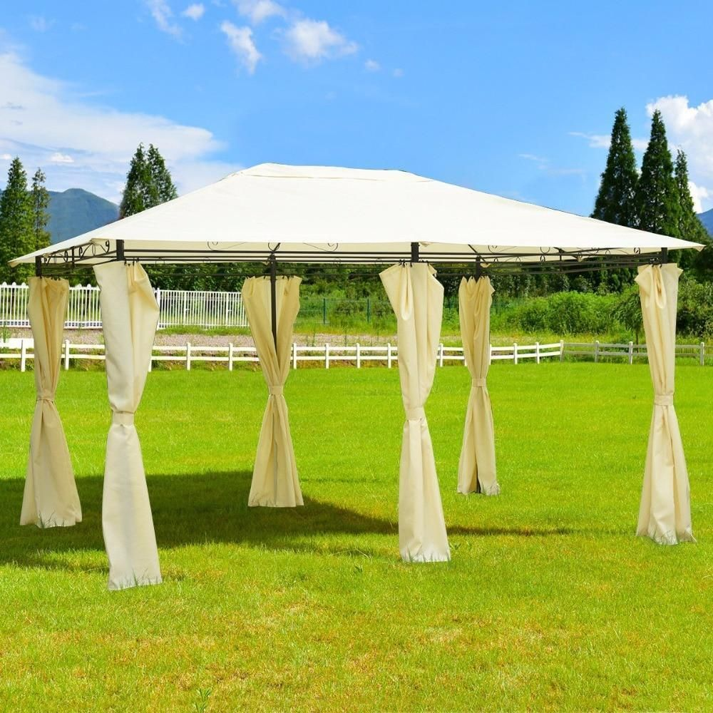 13 X 10 Gazebo Canopy Shelter Patio Party Tent Outdoor Awning W Side Walls Furniture