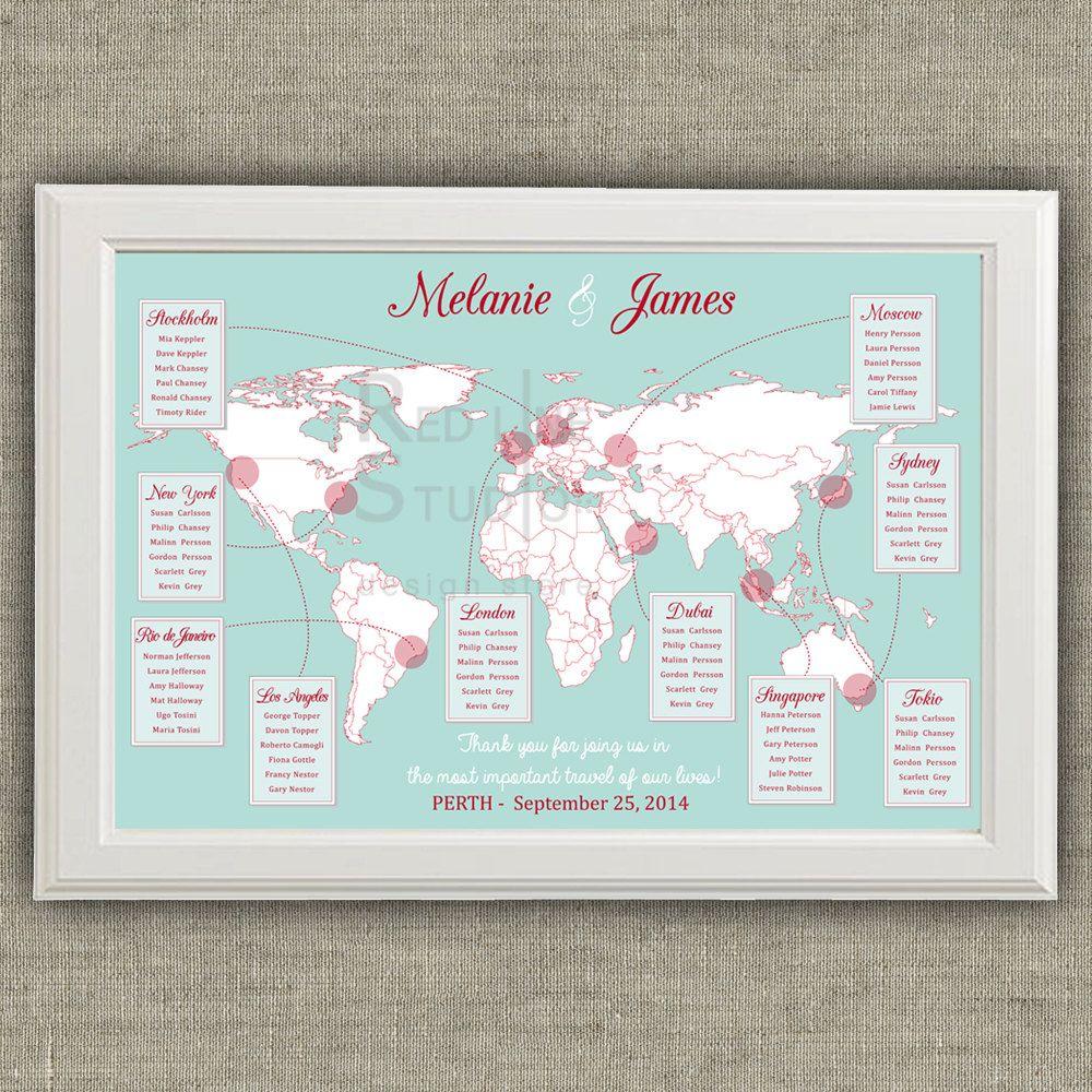 Travel Theme Wedding Seating Chart - World Map - Destinations ...