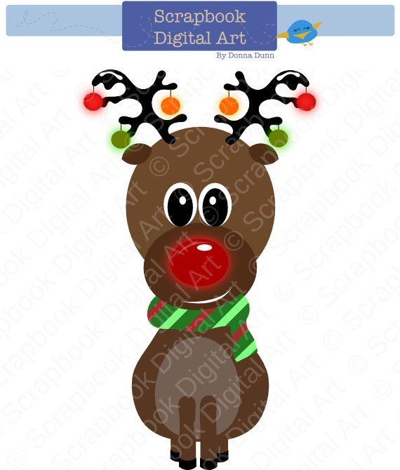 Rudolph The Red Nosed Reindeer Clip Art Christmas Clipart Etsy Clip Art Reindeer Clipart Christmas Clipart