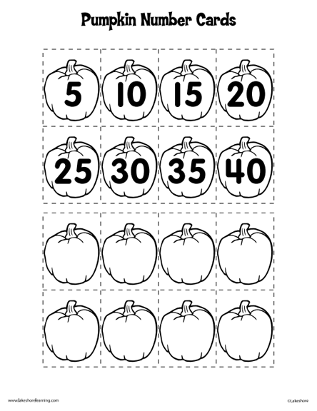 here u0026 39 s a set of pumpkin numbers and a number line for skip counting by 5s
