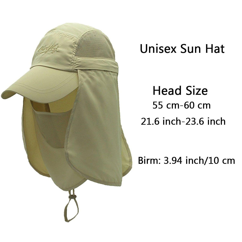 b3e2d9cf Quick-Drying Outdoor Cap UV Protection Sun Hats Fishing Hat Neck Face Flap  Hat UPF50+ - Khaki - CA17Z3YIK3L - Hats & Caps, Men's Hats & Caps, Sun Hats  ...