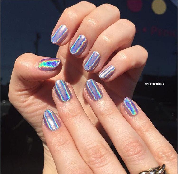 HOLOGRAM + CHROME NAILS | Chrome nails, Makeup and Pretty ...