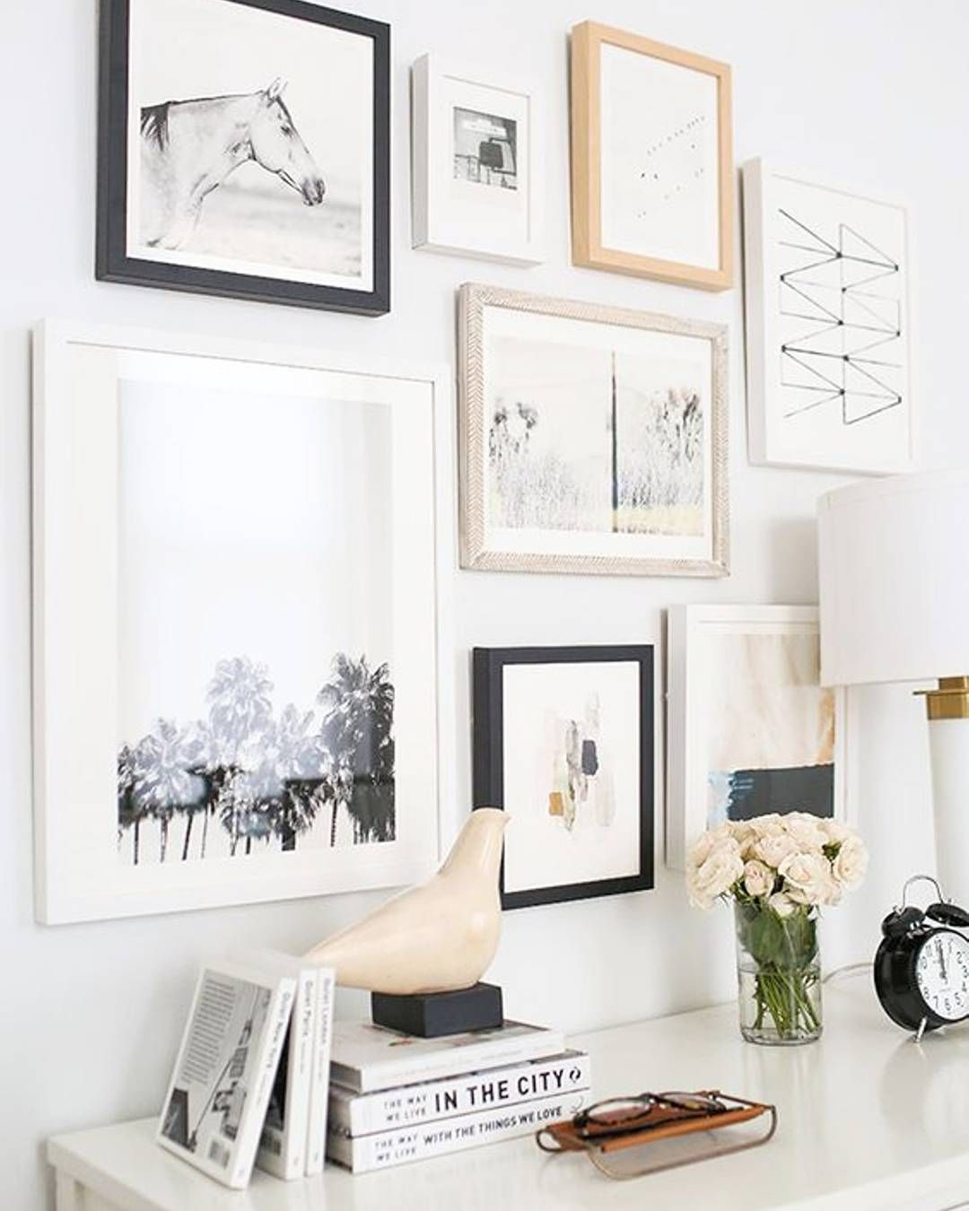 The Key To Wall Art Is To Mix And Match Frame Colors Sizes And Content On The Prints Black And White Always Seems To Make Home Decor Gallery Wall Minted Home