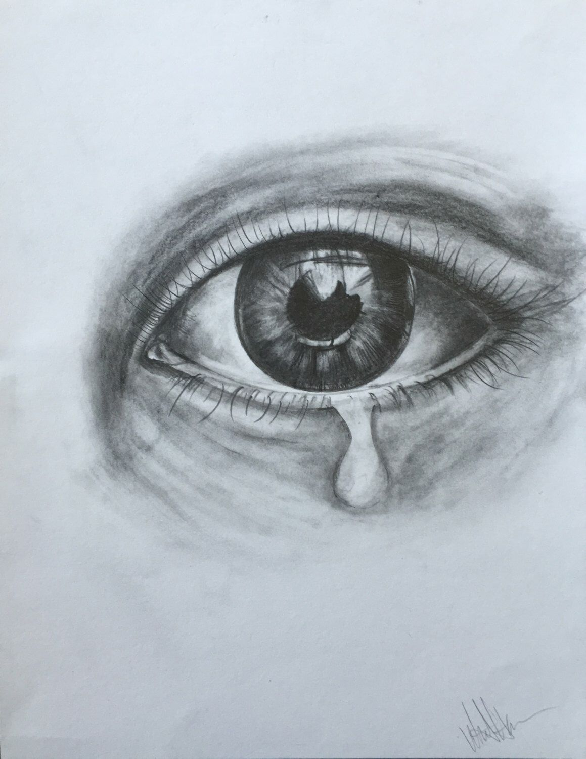 Print of original pencil drawing crying eye by whitneyshalenart on etsy https