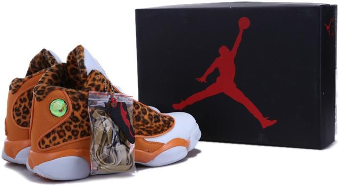 http://www.asneakers4u.com/ 2013 Top Nike Air Jordan 13 Leopard Men Shoes in Orange and White2