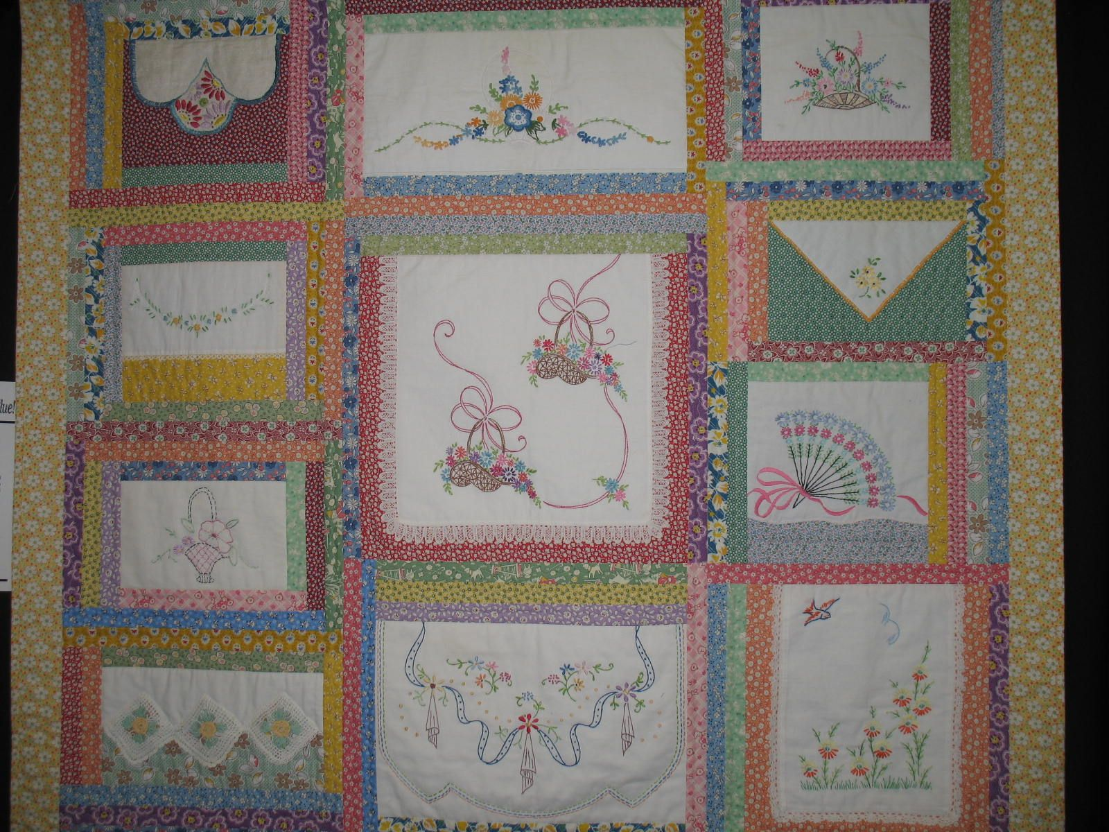 Using Antique Family Linens which were embroidered.  NBAQG