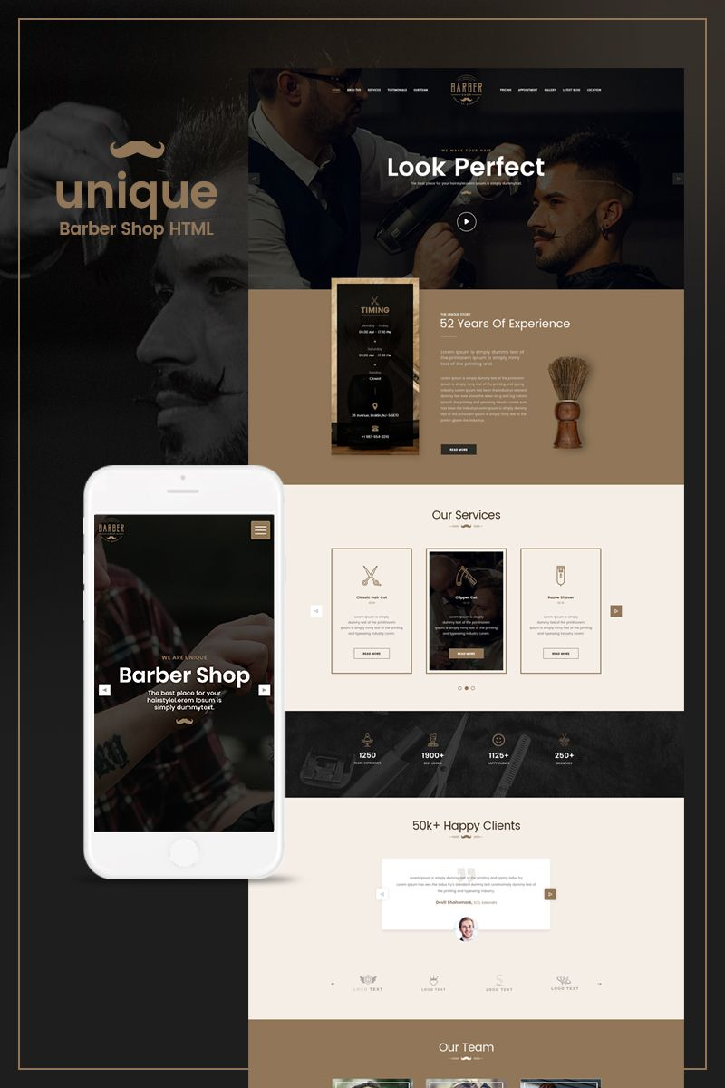 UNIQUE- Barber Salon Website Template | Responsive Website Templates ...