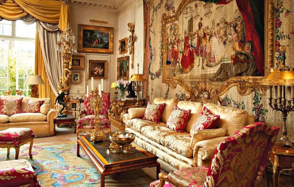 Opulent Traditional Sitting Room With A Grand Tapestry.