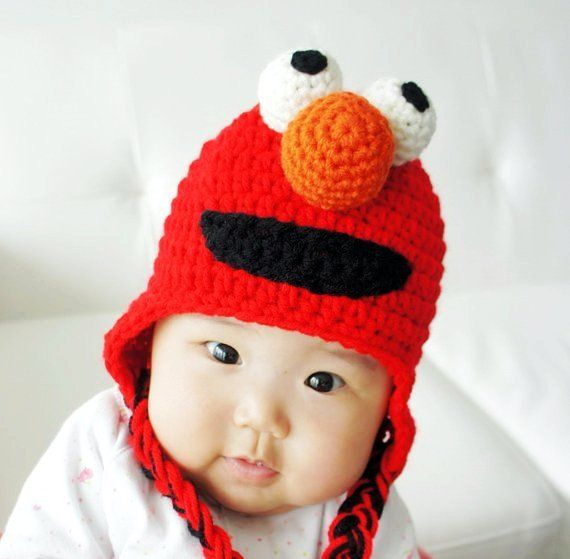 Elmo Hat Monster Hat Crochet Baby Hat Animal Hat Photo Prop Red