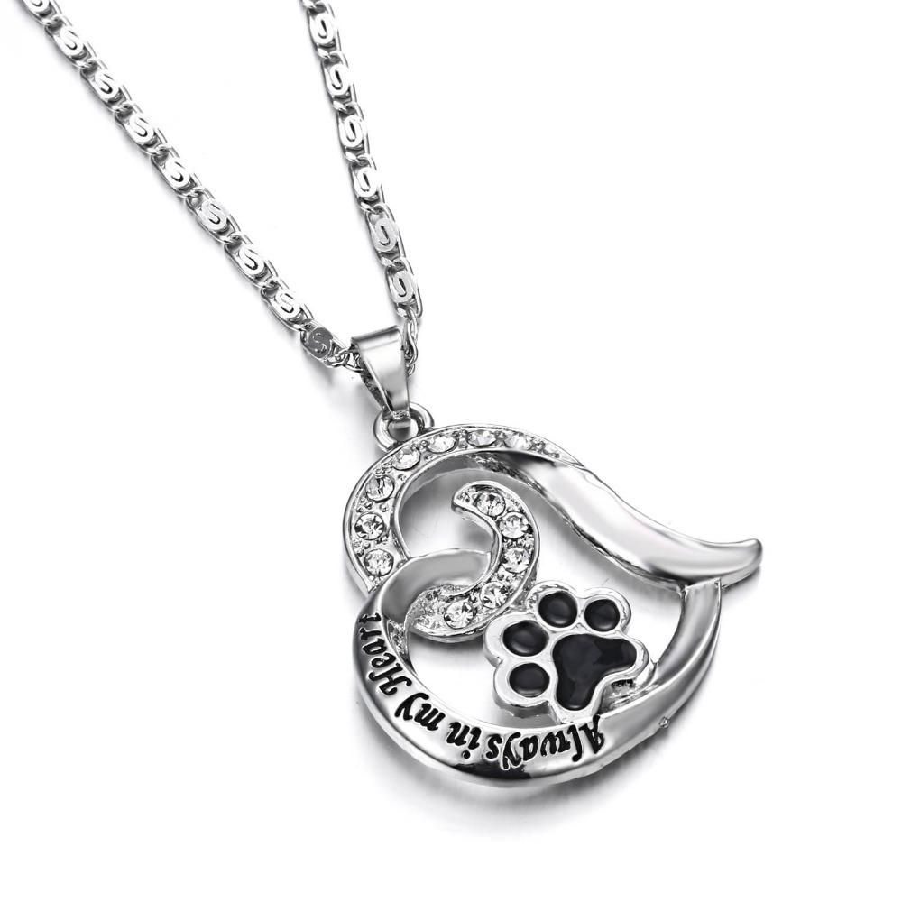 Personalised Heart Pendant Pawprint Pet Memorial Dog Lover Necklace Silver