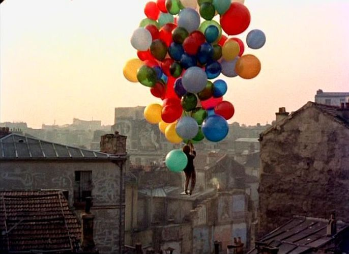 floating with balloons