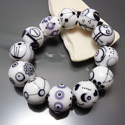 Black and White Glass Beads, Set of 12, Handmade Lampwork Beads Rounds, SRA…