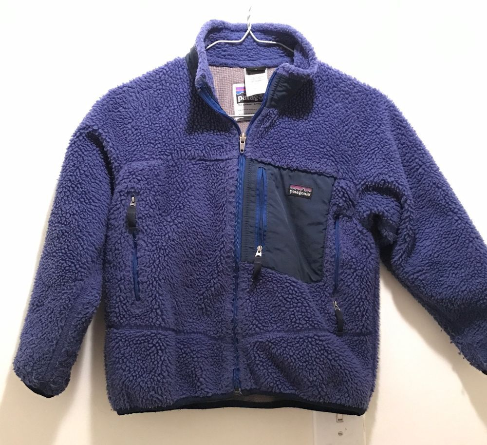 Patagonia Kid 039 S Size 8 Warm Retro X Jacket Fleece Jacket Coat Blue Indigo 129 Ebay Fleece Jacket Patagonia Kids Vintage Coat