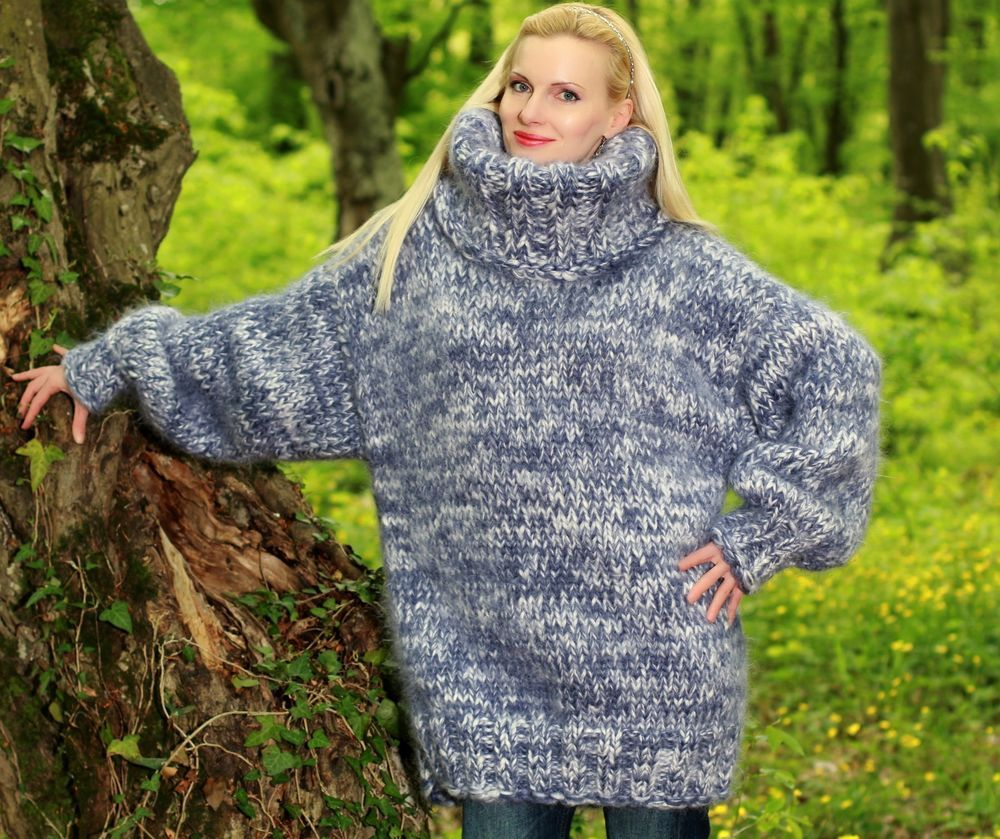 33fd566523 3.8 KG Hand Knitted Mohair MEGA THICK SWEATER BLUE WHITE Pullover by  SUPERTANYA