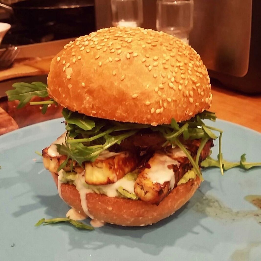best homemade burger i ve had in a while mushroom haloumi and