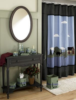 this rustic shower curtain features the serene black bear scene as it strolls past the calm