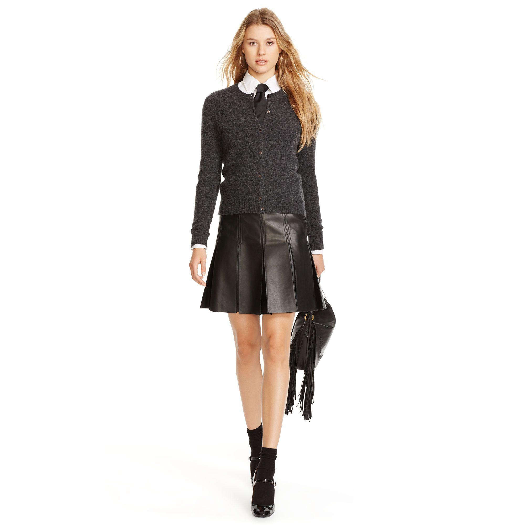 lederrock mit falten r cke skorts damen ralph lauren deutschland trends leather skirts. Black Bedroom Furniture Sets. Home Design Ideas
