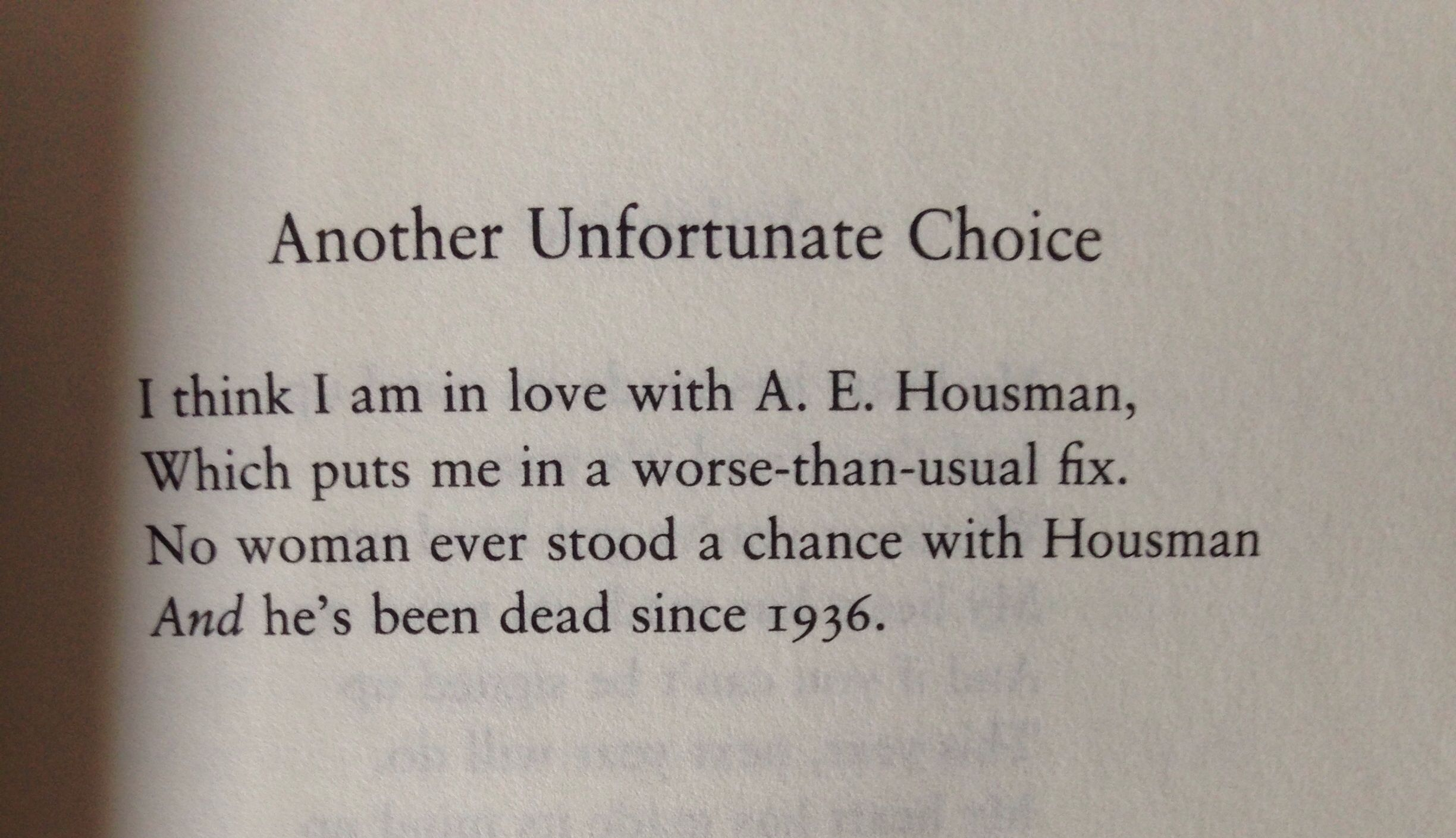 'Another Unfortunate Choice' - Wendy Cope