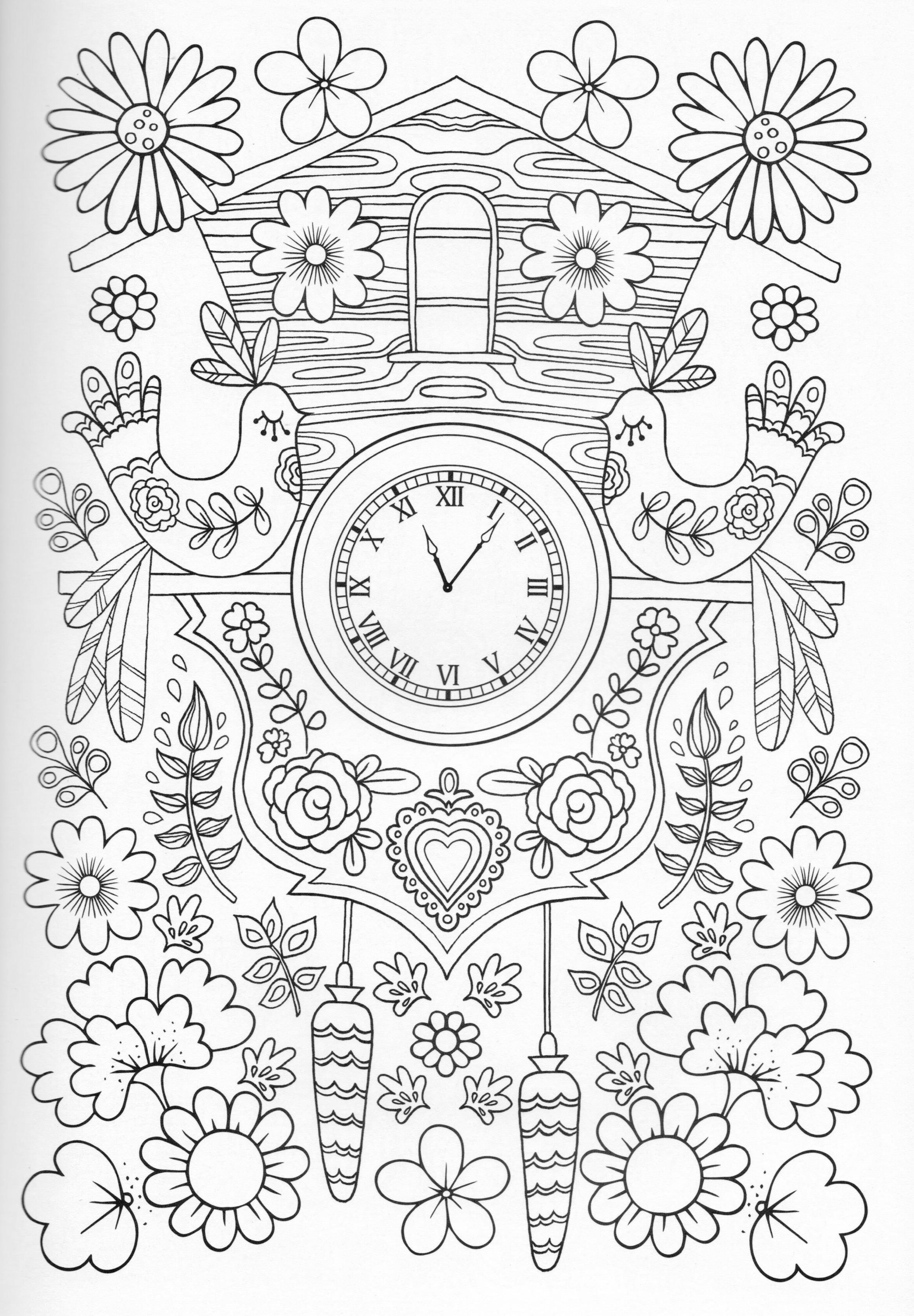 Cuckoo Clock Coloring Page A Has Got The Sounds Like Cuckoos Call And An Automated Bird That Will Move With Each Minute