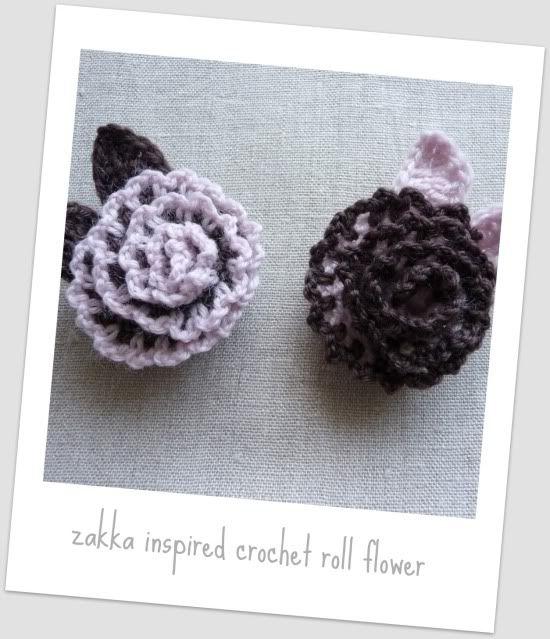 Zakka Inspired Crochet Roll Flower Brooch Pattern Crochet