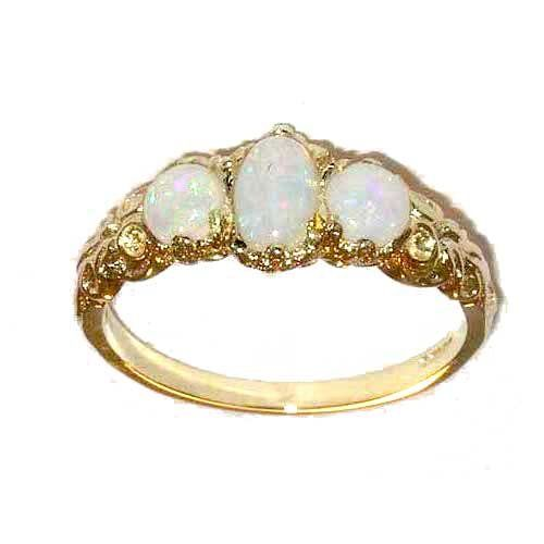 Ladies Solid 14ct Rose Gold Natural Fiery Opal English Victorian Style Trilogy Ring nAXmrZVc9u