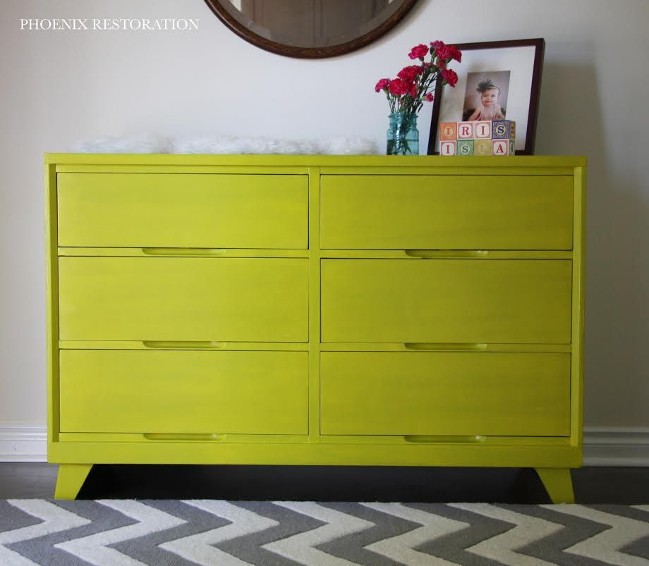Marvelous Chartreuse Dresser #DIY #painted Furniture #customcolor    Http://phoenixrestoration.