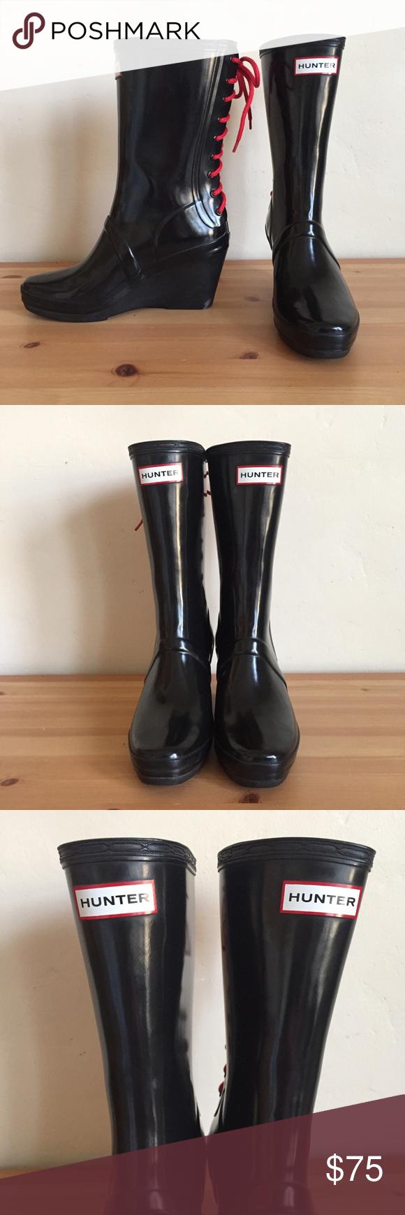 c9140bd62248 Mint❣️Hunter Verbier Wedge Rain Boots Black Red