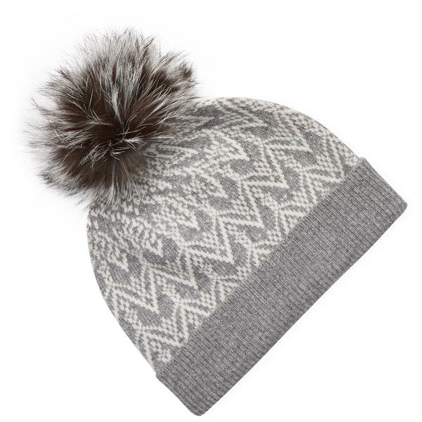 31b23d741d6e73 Sofia Cashmere Women's Fox Fur Pom Fair Isle Beanie - Grey ($99) ❤ liked on Polyvore  featuring accessories, hats, grey, pom pom hat, grey beanie hat, grey ...