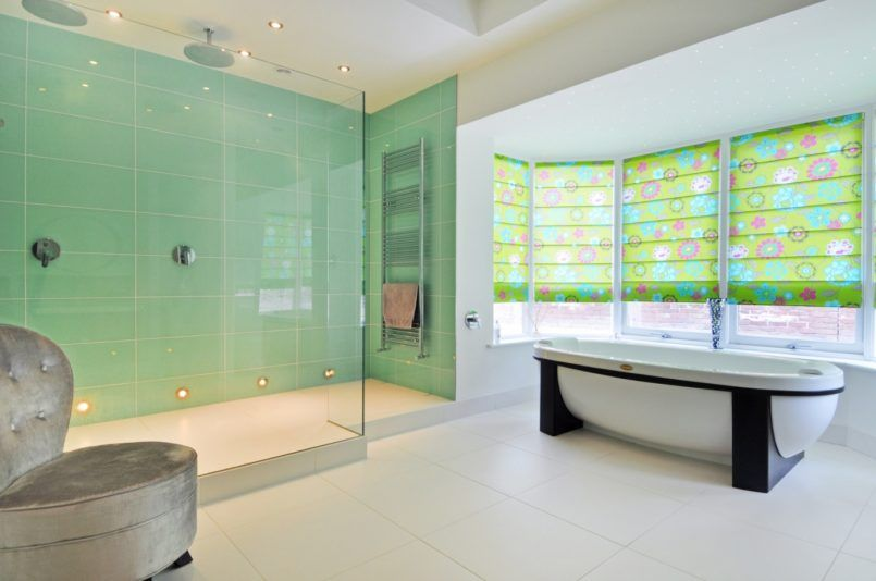 Bathroom : Bright Modern Walk In Shower In Light Mint Green Ceramics ...