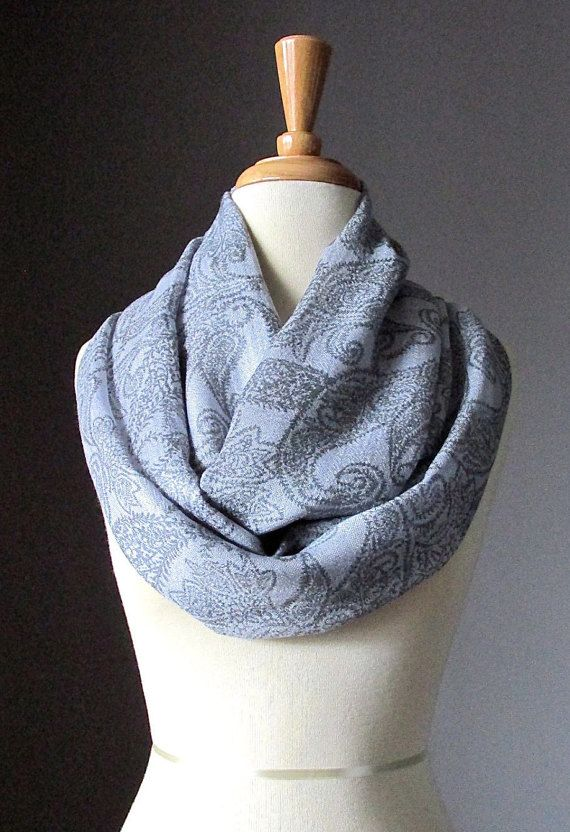 Grey infinity scarf floral print light scarf for by ScarfObsession