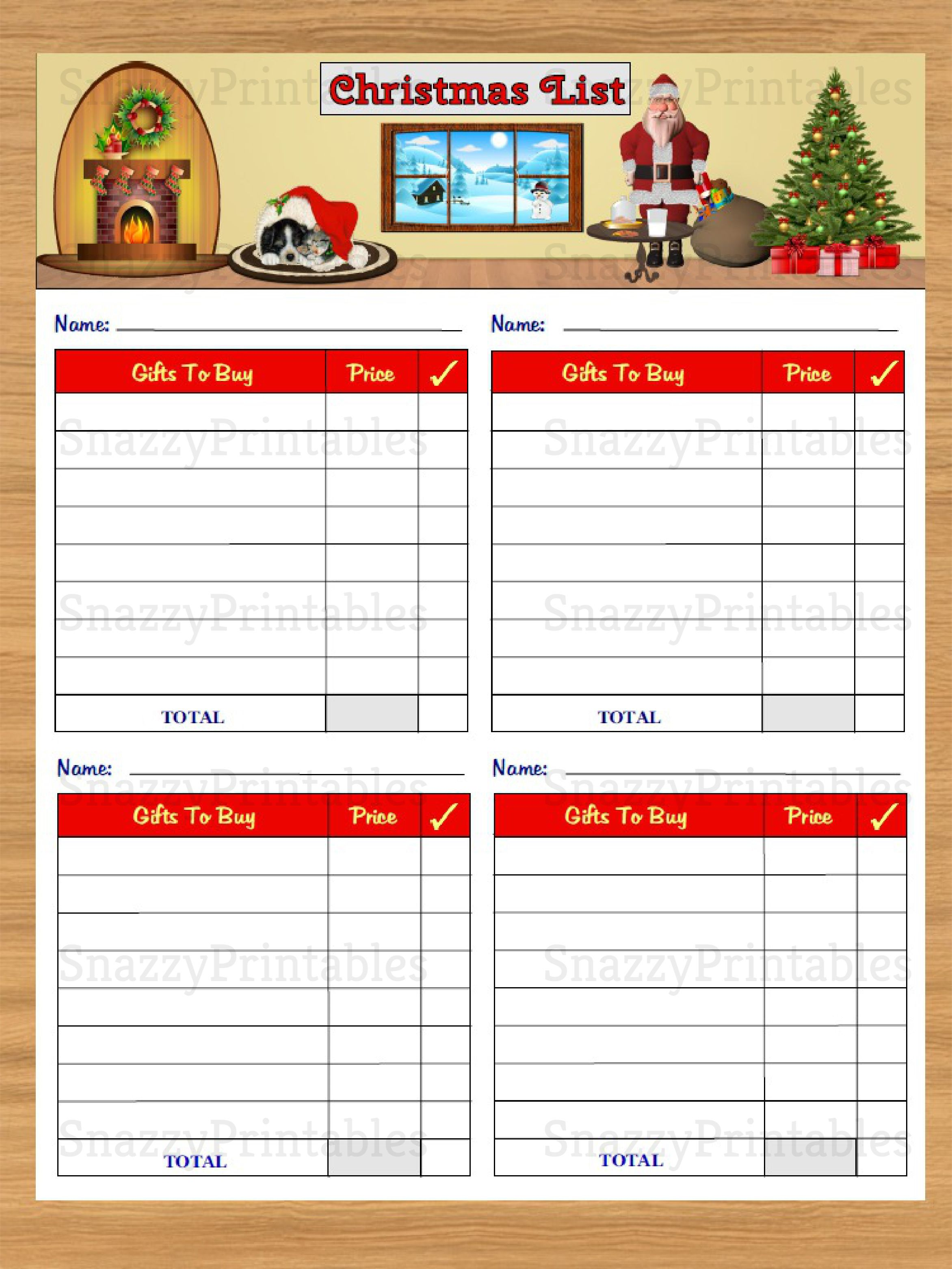 Christmas T List Printable