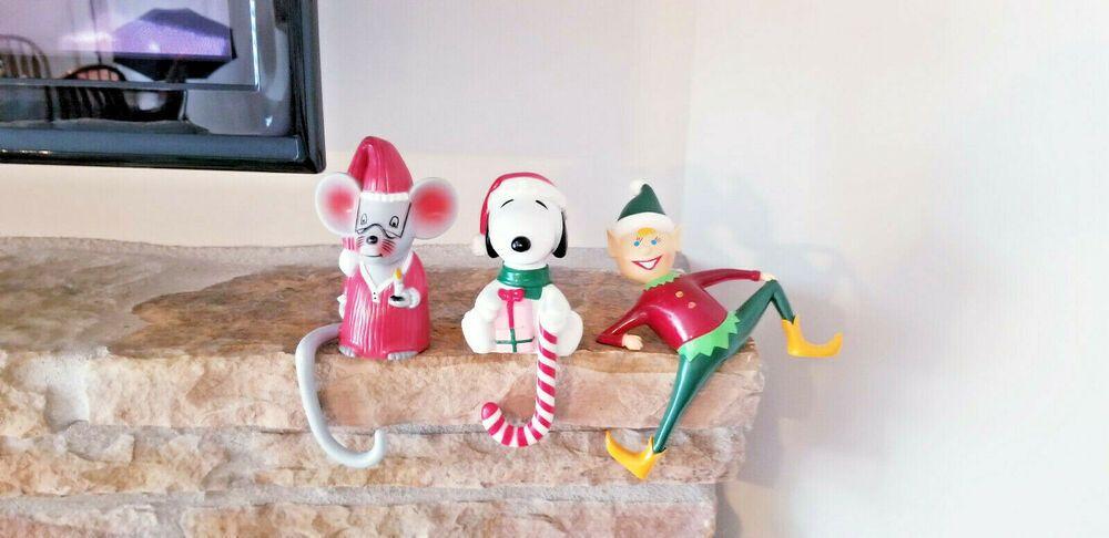 1980s Christmas Stocking Holder Mantel Sitter 3x Snoopy