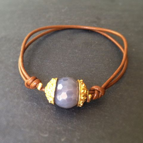 Chime Bracelet - 24k Gold Dipped Charm, Moonstone and Leather Bracelet – MeiElizabeth