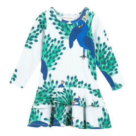 Mini Rodini Peacock AOP Frill Dress