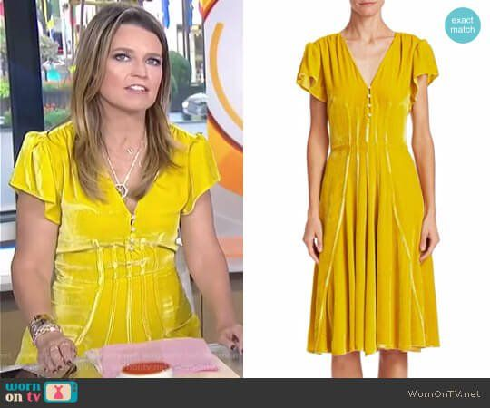 0b2d4d1293f Savannah s yellow velvet dress on Today. Outfit Details  https   wornontv.