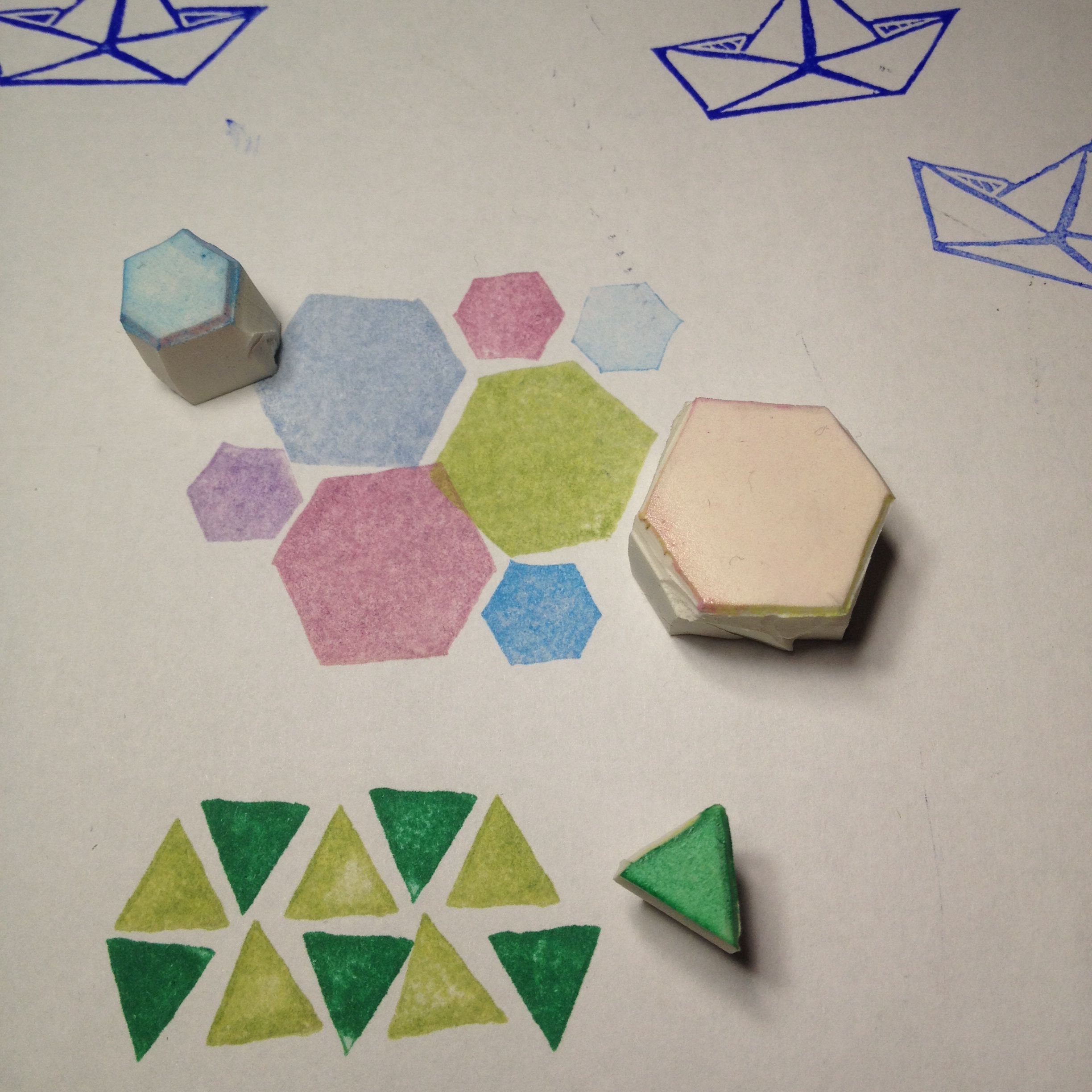 Clay Triangle Drawing Triangle And Hexagon Geometric Rubber Stamps Handcarved By