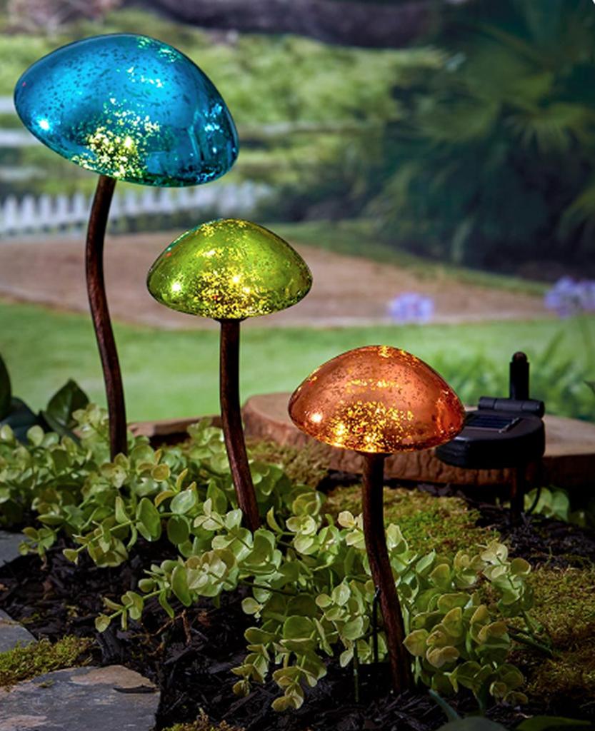 Outdoor Solar Powered Mushroom Garden Lights Set Of 3 Outdoor Solar Lights Solar Lights Garden Solar Landscape Lighting