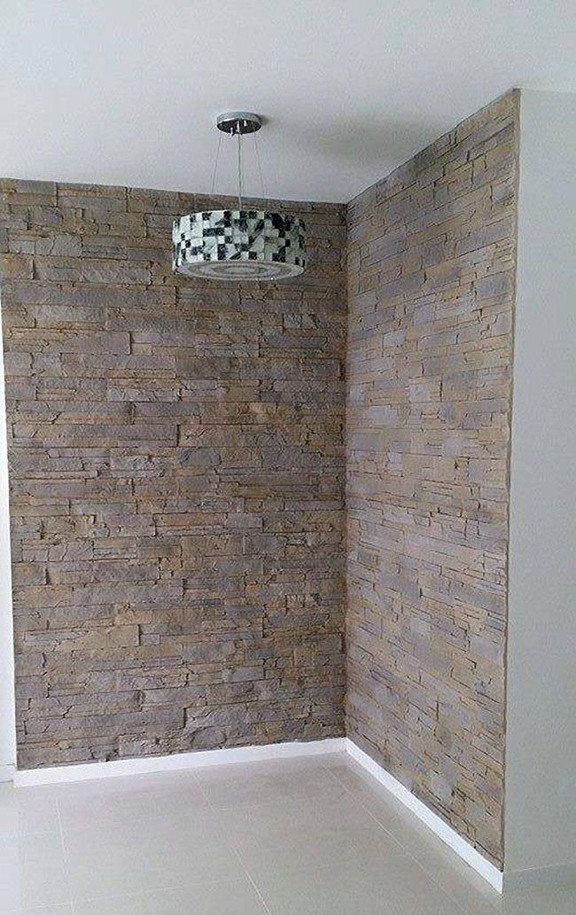 Lascas gris Steinwand Wandgestaltung Wohnzimmer Pinterest - wohnzimmer mit steinwand